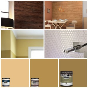Top Lt: Vesdura Vinyl Peel & Stick in Teak Cocoa; Top Rt: Vesdura Vinyl  Peel & Stick in Natural Oak; Middle Rt: Mosaik Self Adhesive High-Gloss Mosaic in White; Paint: Behr in Burnished Bronze, Summer Field, and/or Venetian Gold